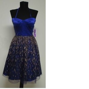 dress, blue, tulle overlay, strapless, NWT